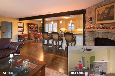Bachman Renovation — Living Room Before & After