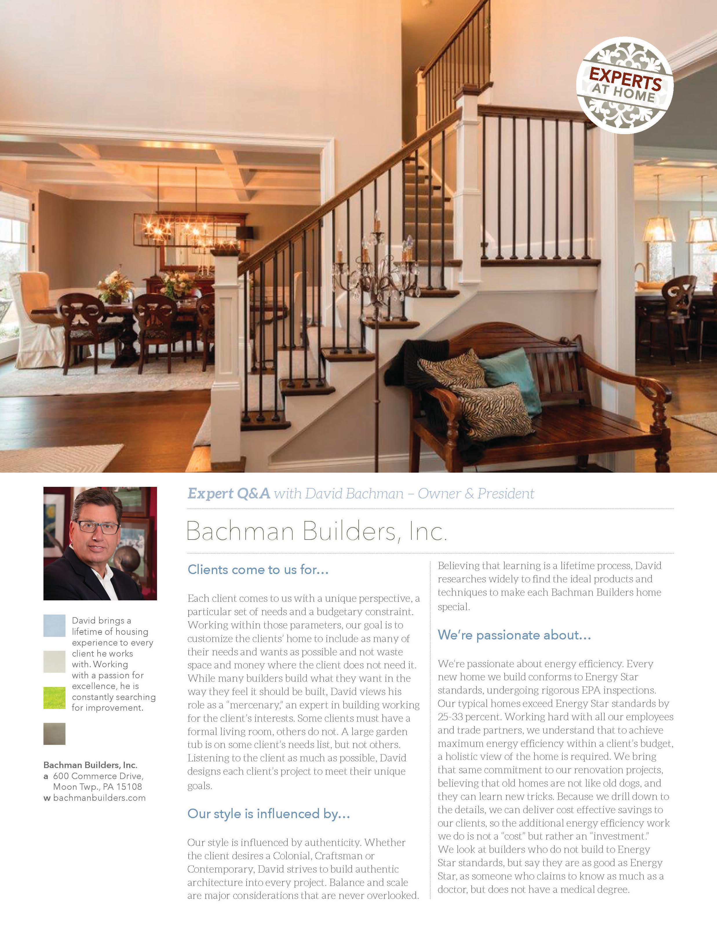 Pittsburgh Magazine HOME Q&A with David Bachman