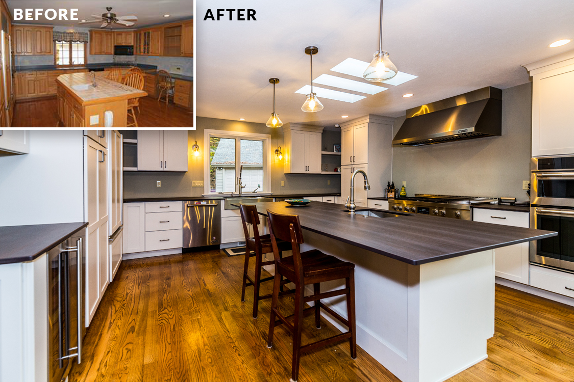 Kitchen renovation before/after by Bachman Builders