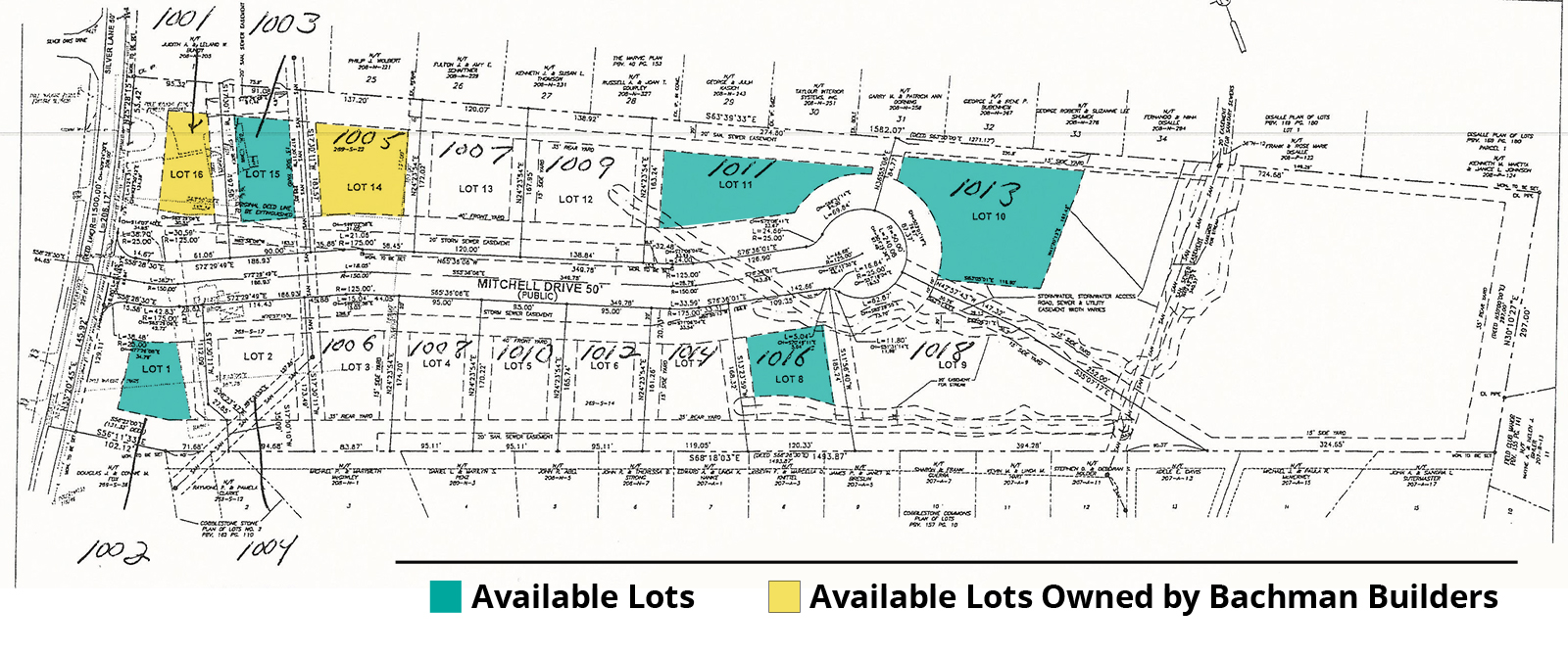 Lot plan showing available lots at Marks Landing in Pittsburgh, PA